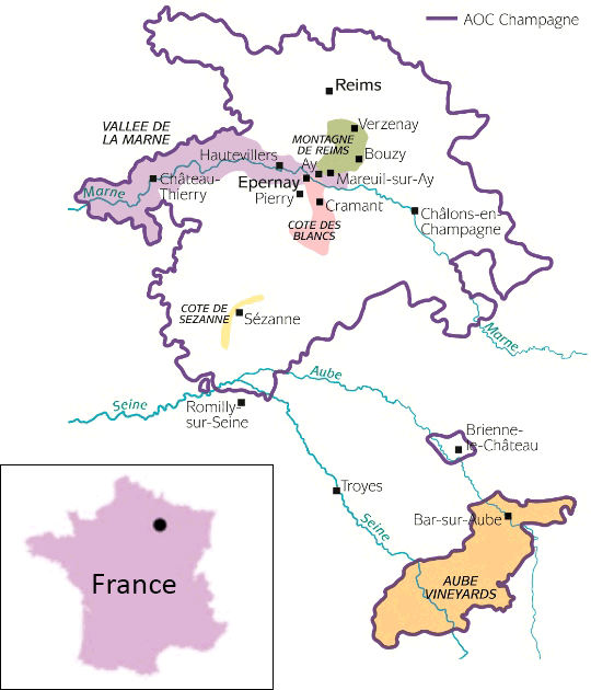 Champagne wine region map